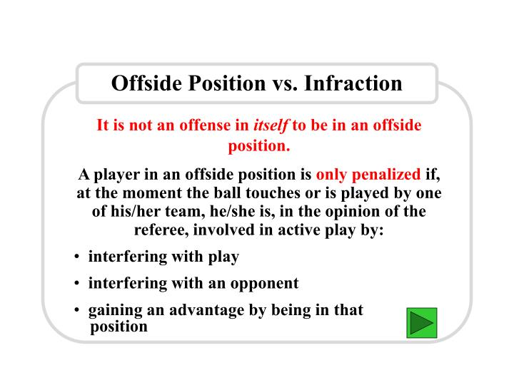 Offside Position vs. Infraction