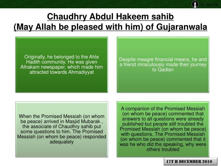 Chaudhry Abdul Hakeem sahib