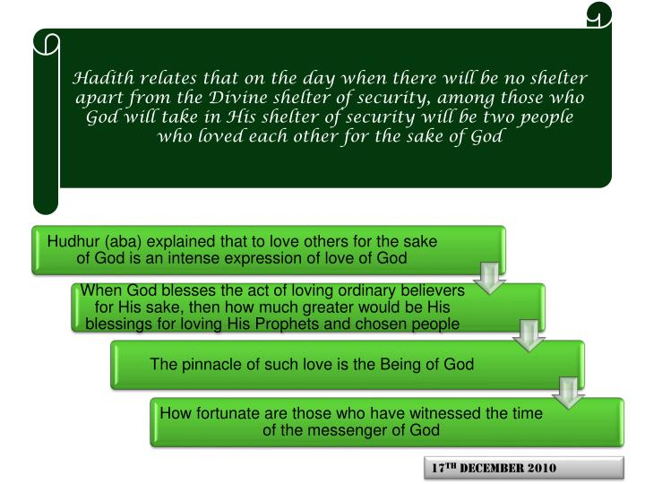 Hadith relates that on the day when there will be no shelter apart from the Divine shelter of security, among those who God will take in His shelter of security will be two people who loved each other for the sake of God