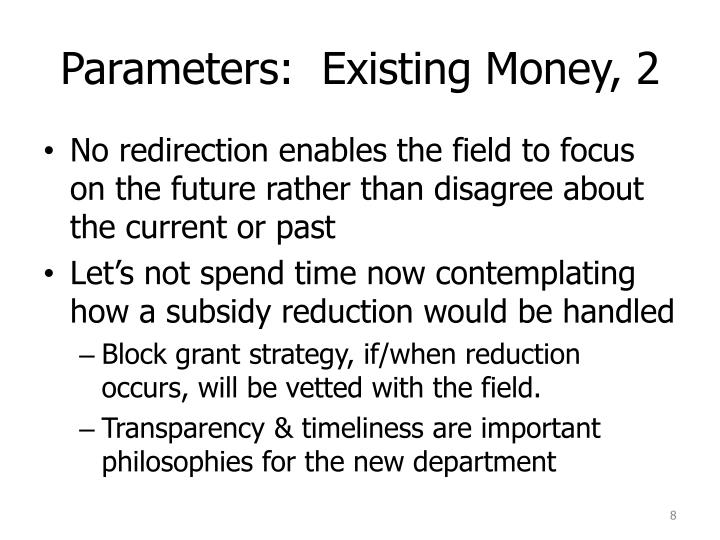 Parameters:  Existing Money, 2