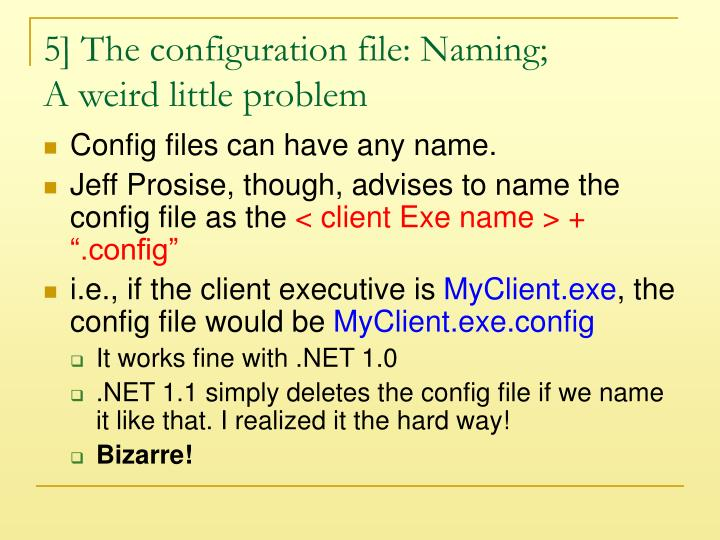 5] The configuration file: Naming;