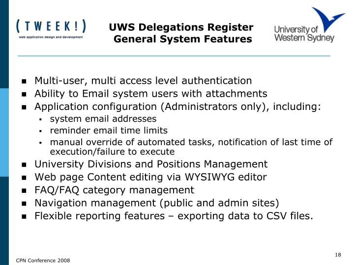 UWS Delegations Register