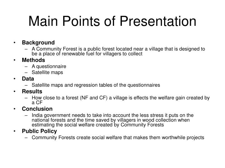Main Points of Presentation