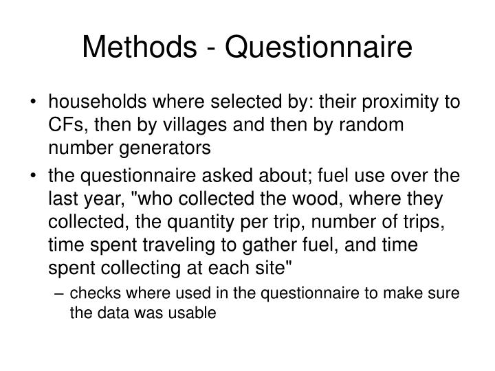 Methods - Questionnaire