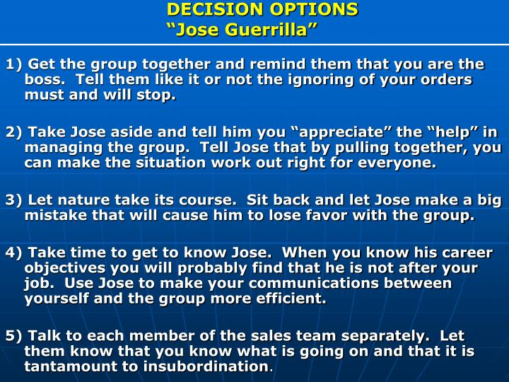 DECISION OPTIONS