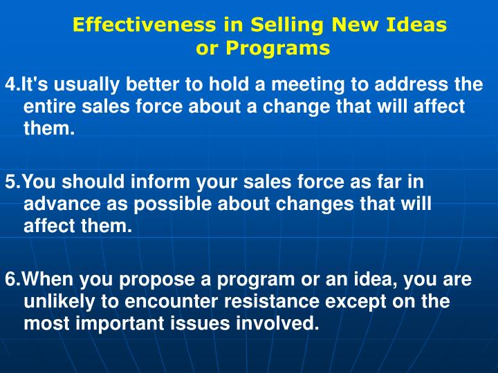 Effectiveness in Selling New Ideas