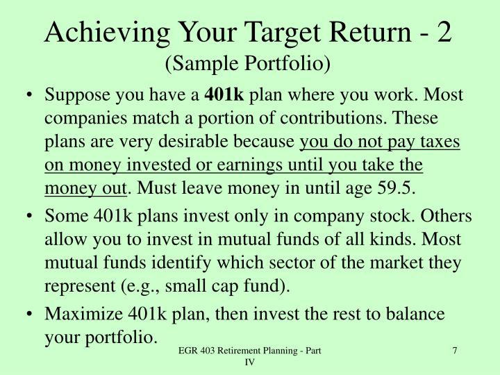 Achieving Your Target Return - 2