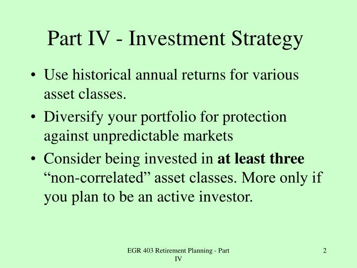 Part iv investment strategy