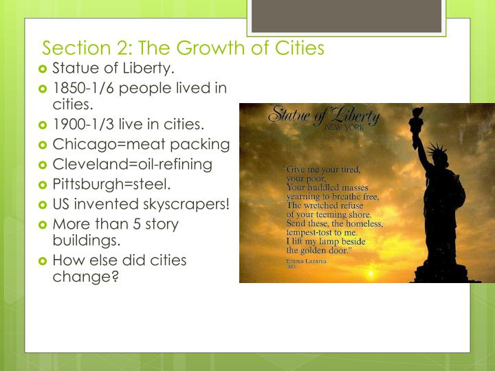Section 2: The Growth of Cities