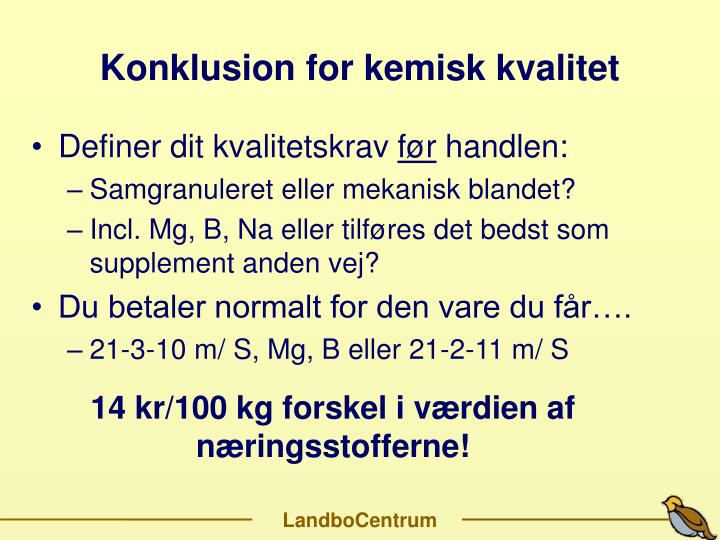 Konklusion for kemisk kvalitet