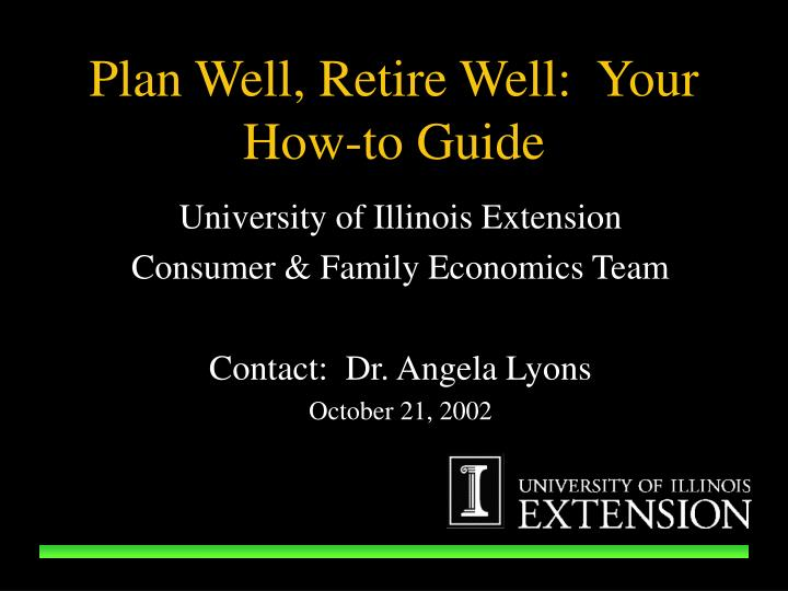 Plan well retire well your how to guide