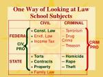 one way of looking at law school subjects