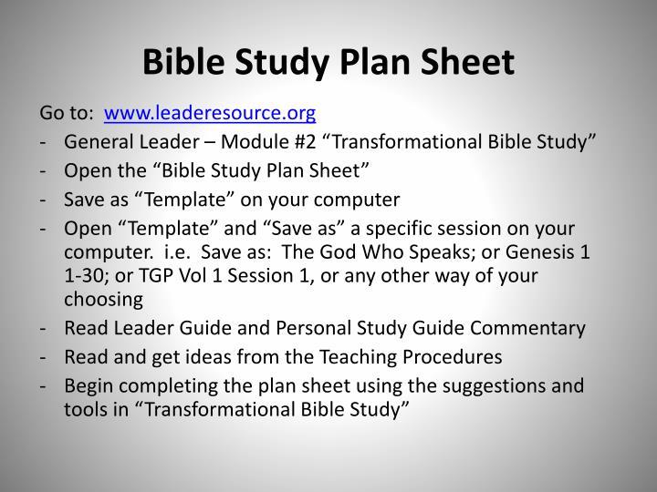 Bible Study Plan Sheet