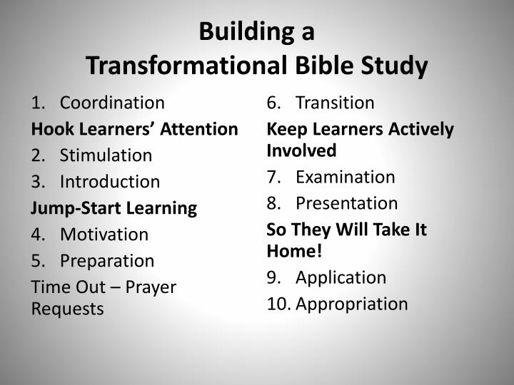 Building a transformational bible study