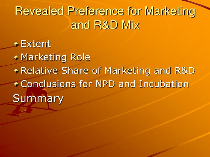 Revealed Preference for Marketing and R&D Mix