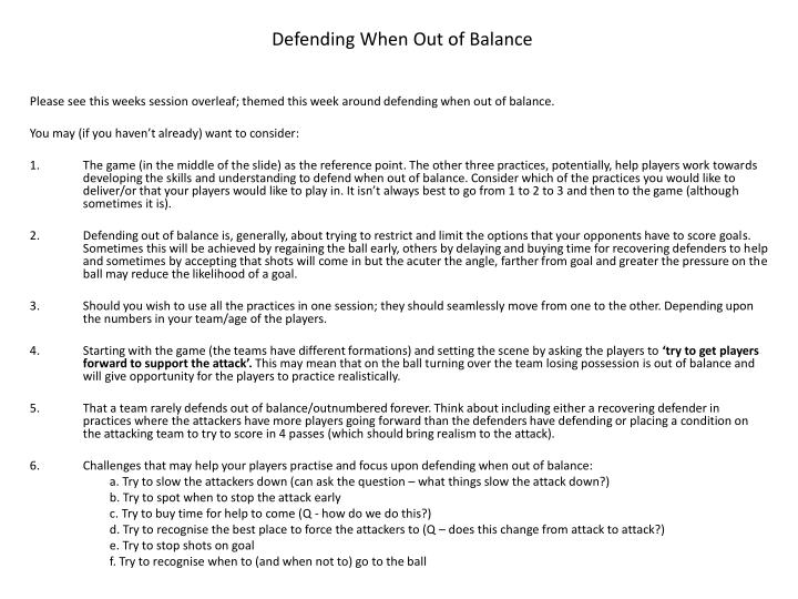 Defending When Out of Balance