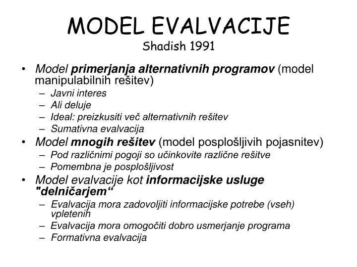 MODEL EVALVACIJE