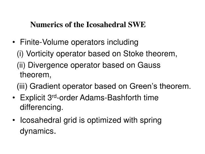 Numerics of the Icosahedral SWE
