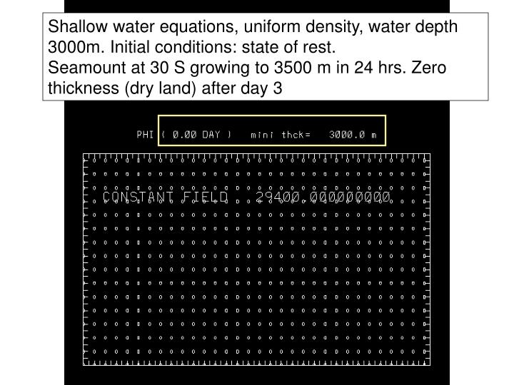Shallow water equations, uniform density, water depth 3000m. Initial conditions: state of rest.