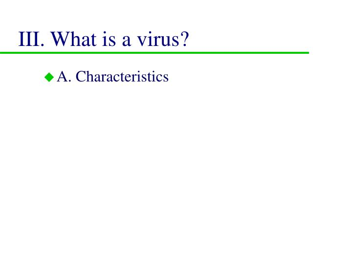 III. What is a virus?