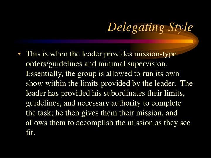 Delegating Style
