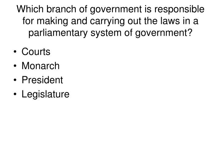 Which branch of government is responsible for making and carrying out the laws in a parliamentary system of government?