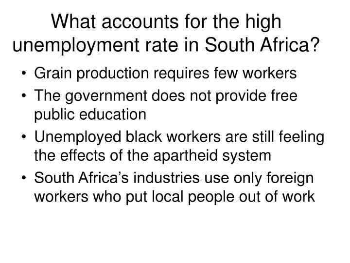 What accounts for the high unemployment rate in South Africa?