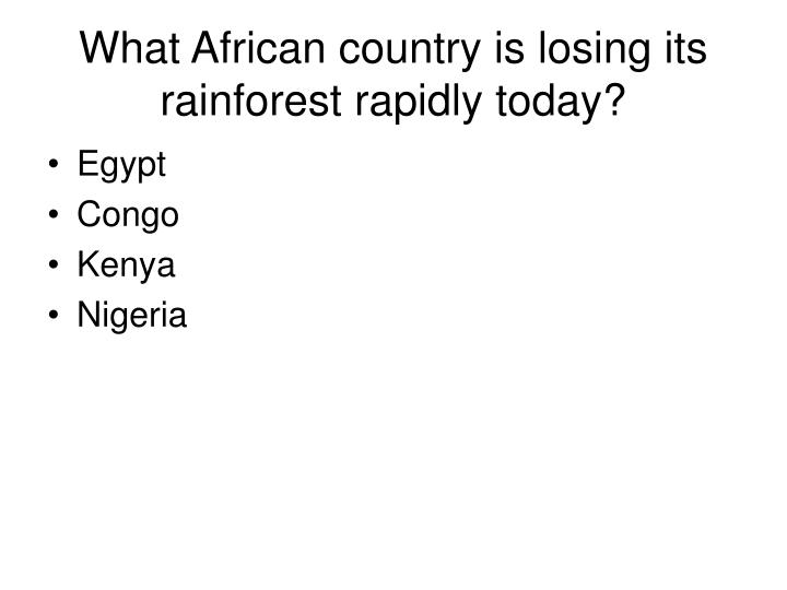 What African country is losing its rainforest rapidly today?