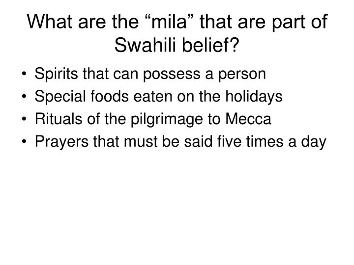 "What are the ""mila"" that are part of Swahili belief?"