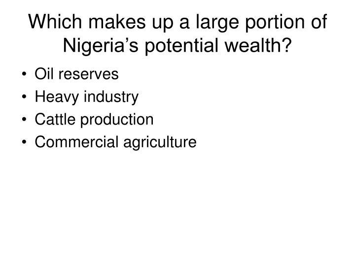 Which makes up a large portion of Nigeria's potential wealth?