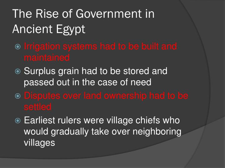 The Rise of Government in Ancient Egypt