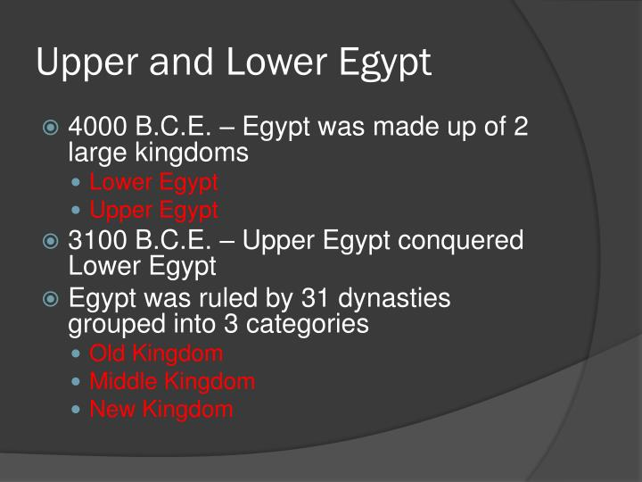 Upper and Lower Egypt