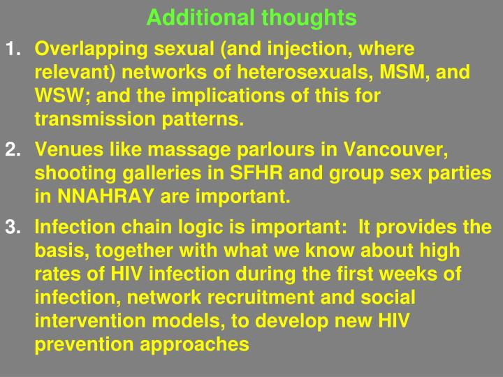 Additional thoughts