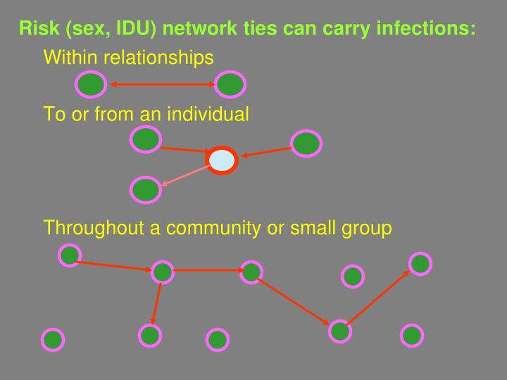 Risk (sex, IDU) network ties can carry infections:
