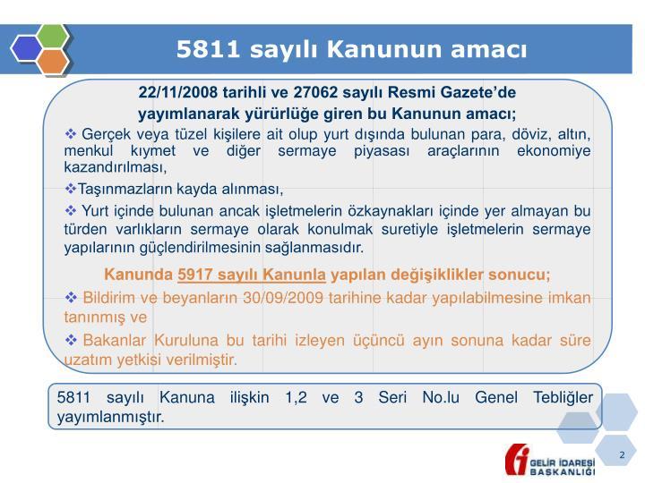 5811 sayılı Kanunun amacı