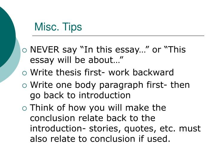 Misc. Tips