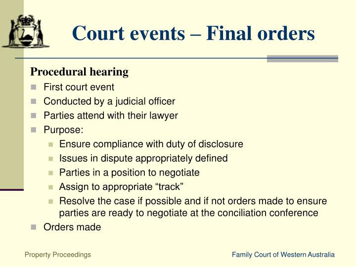 Court events