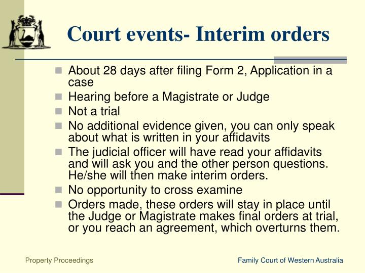 Court events- Interim orders