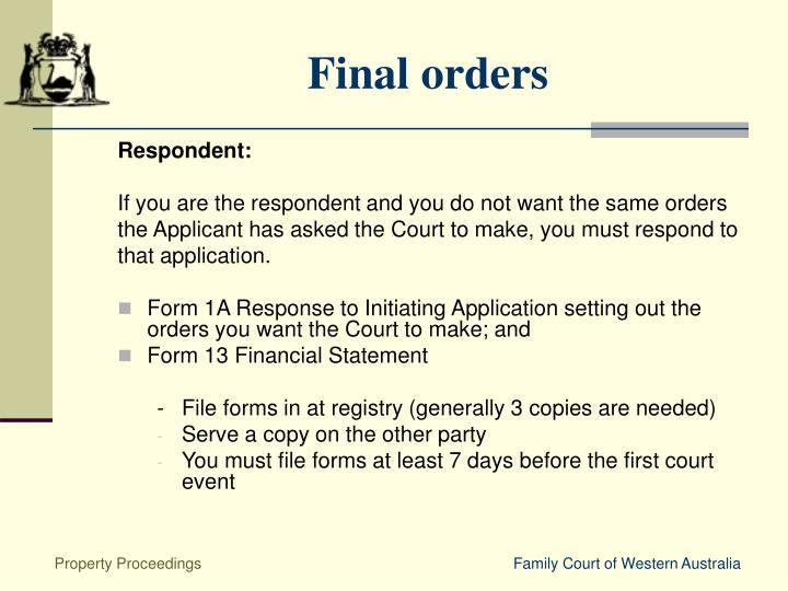 Final orders