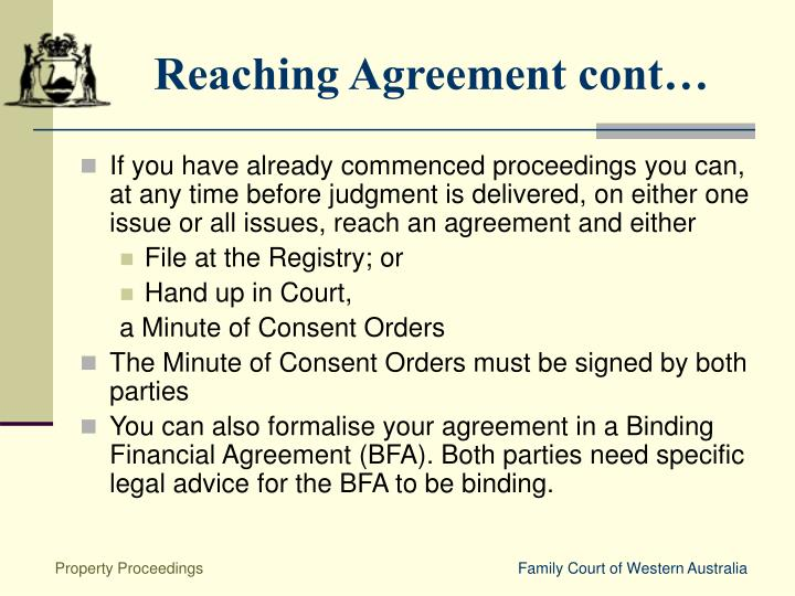Reaching Agreement cont…