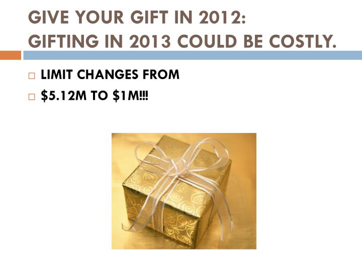 GIVE YOUR GIFT IN