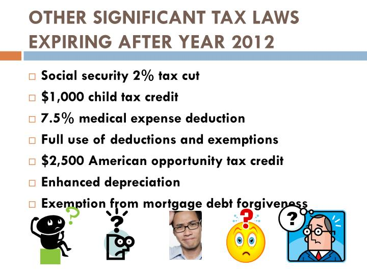 OTHER SIGNIFICANT TAX LAWS EXPIRING AFTER YEAR 2012