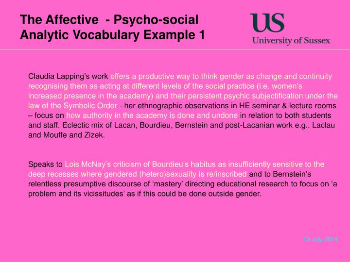 The Affective  - Psycho-social Analytic Vocabulary Example 1
