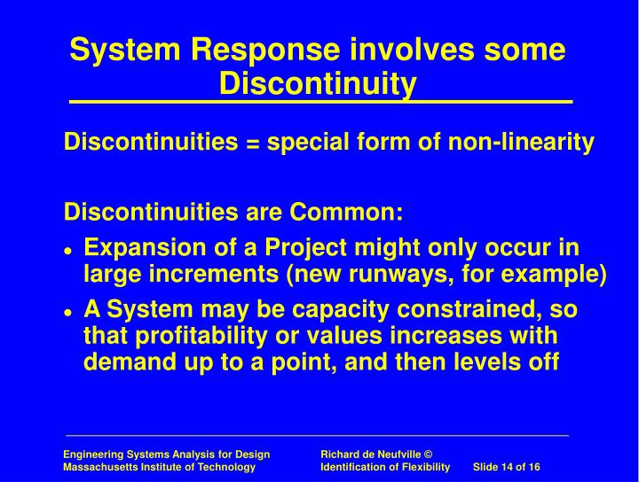 System Response involves some Discontinuity