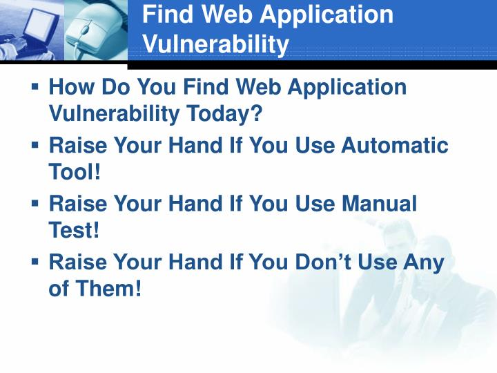Find Web Application Vulnerability