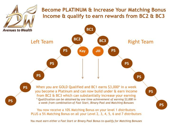 Become PLATINUM & Increase Your Matching Bonus Income & qualify to earn rewards from BC2 & BC3