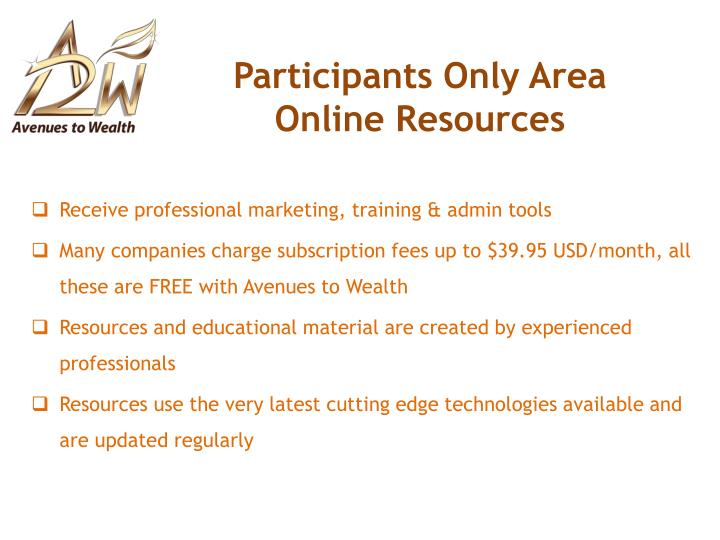 Participants Only Area Online Resources