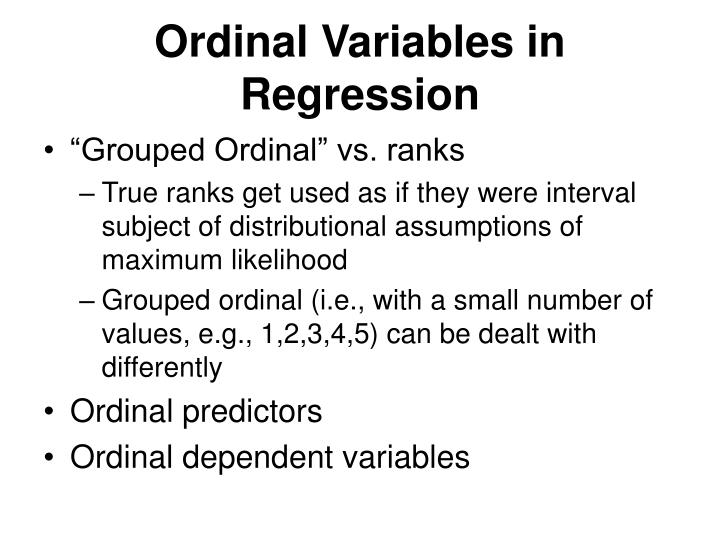 Ordinal Variables in Regression