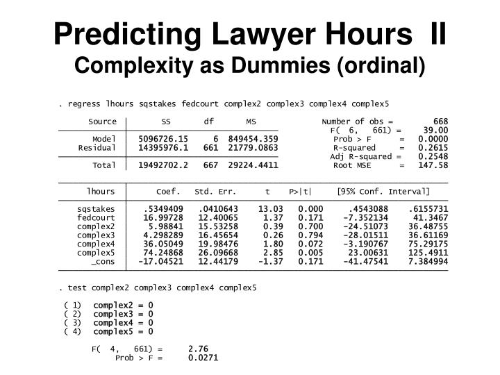Predicting Lawyer Hours  II