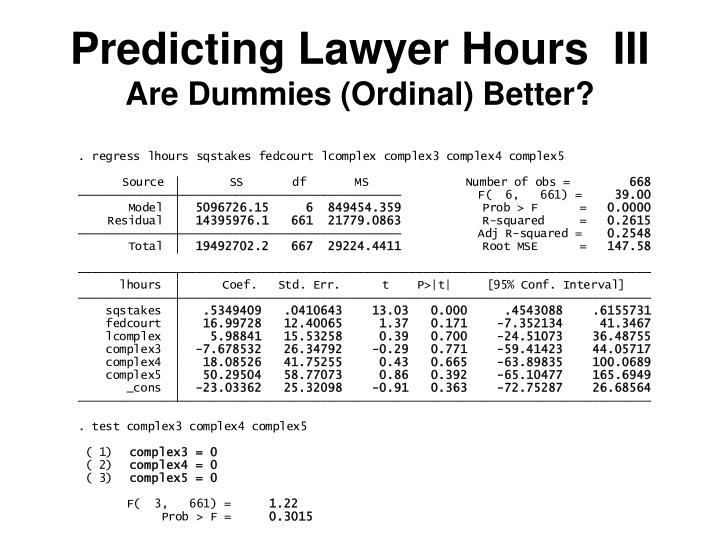 Predicting Lawyer Hours  III